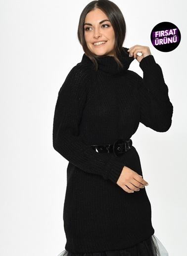 Loves You Tam Balıkçı Simli Tunik Elbise Siyah